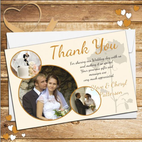 10 Personalised Wedding Day Thank you Photo cards No38